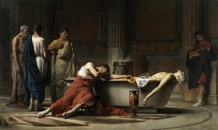 """Мануэль Санчес - """"Смерть Сенеки"""" (1871)"""